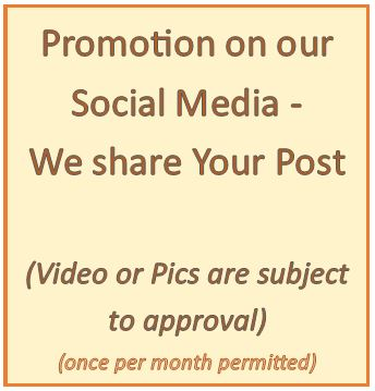 Option - Promotion on our Social Media, by sharing your post (once per month permitted)